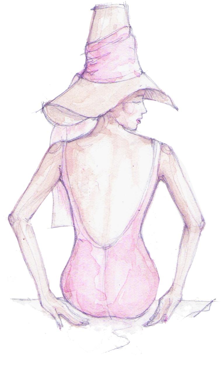 Vintage rose swimsuit,Vogue editorial 1960.