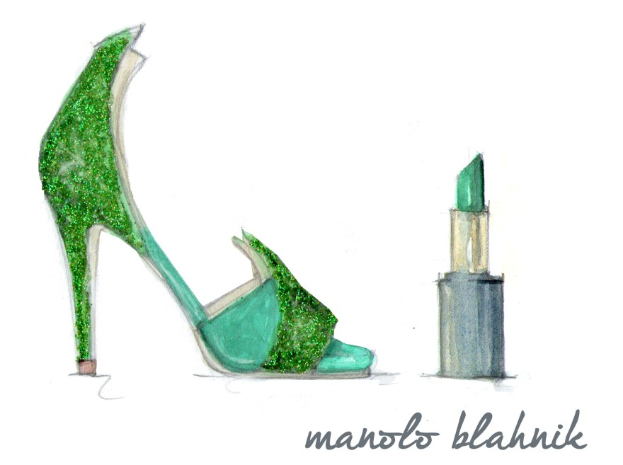 Manolo Blahnik suede and sparkle